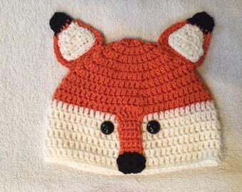 Crochet Fox Beanie Hat, Fox Hat