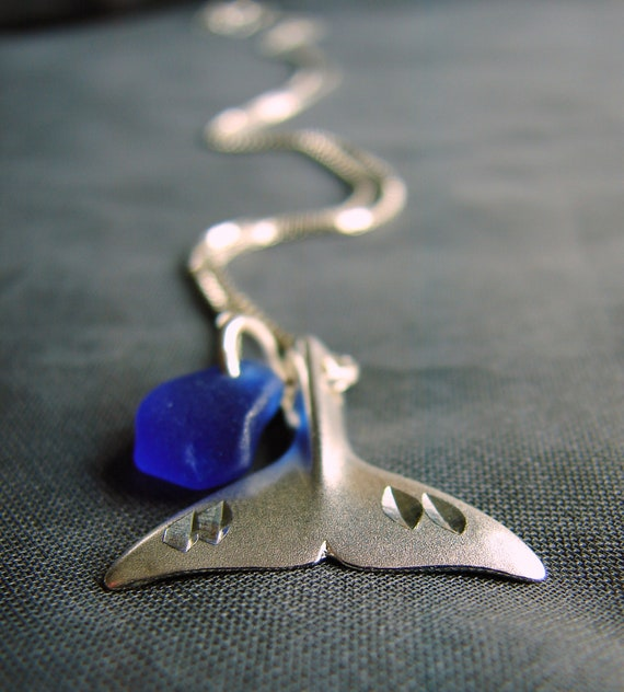 Whale Tail sea glass necklace in cobalt blue