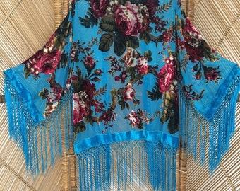 velvet kimono jacket,devore jacket,burnout jacket,fringe,jacket,boho,gypsy,festival clothing,70s,velvet kimono,devore kimono,burnout