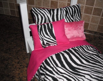 4-piece Bedding set White Zebra print fits American Girl doll beds
