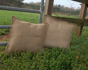 2 Burlap Pillows Burlap Pillow Shams Custom Sizes Decorative Pillows Burlap Pillow Covers Throw Pillows French Country Farmhouse Handmade