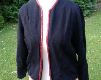SALE Stylish smart 1950s 100% black wool Cardigan with red lurex trim ideal for Autumn and winter