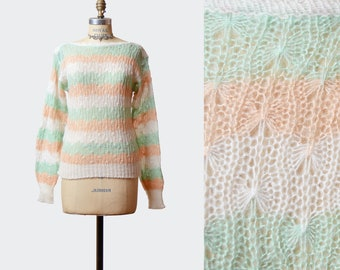 Vintage 80s Pastel Sweater STRIPED 80s Knit Pullover Retro Sweater Mint Green Peach White Semi-Sheer Boat Neck Boho Jumper Extra Small xs