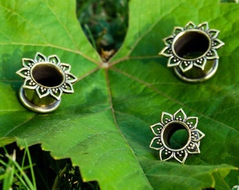 Hand crafted flower tunnel, Gauged Earring, brass or silver colour available, price by piece