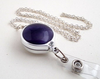 Silver Chain Badge Reel Lanyard - Purple Button on Chrome Badge Reel