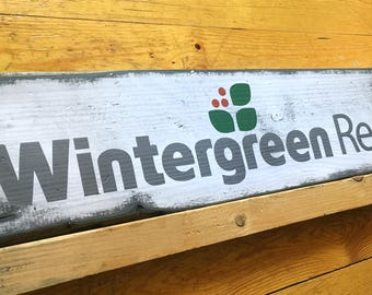 Wintergreen Resort, Handcrafted Rustic Wood Sign, Ski Resort Sign, Mountain Decor for Home and Cabin, 1126