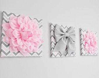 "Baby Pink Wall Decor - Light Pink Dahlias and Gray Bow on Pink and Gray Chevron 12 x 12"" Three Canvas Wall Art Set- Nursery Wall Decor-"