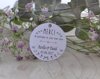 Wedding model - lozenge guest gift - paper lot tags units 10/30/50/80/100/125/150