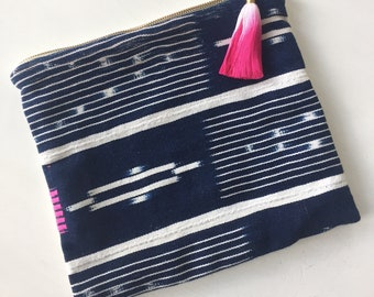 Blue and White Indigo African Baule Cloth Clutch with Pink and White Ombre Tassel Pull