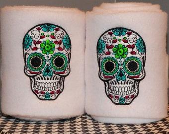 Sugar Skull Embroidered Polo Wraps
