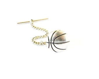 Basketball Tie Tack Sterling Silver Ox Finish Gifts For Men