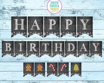 Birthday Banner, Snowflake, Printable, Instant Download, Christmas, Winter Wonderland, Winter Onederland