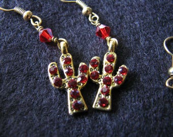 Cacti earrings gold | saguaro | pewter | dangle | red ruby | olive green | miniature plants
