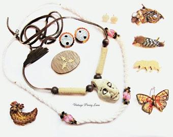 Collection Crafty Vintage Costume Jewelry / Jewellery,  Destash Lot