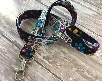Fabric lanyard / Teacher lanyard badge id key holder sugar skull