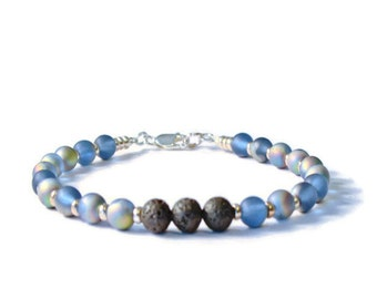 Black and Blue Lava Rock Essential Oil Diffuser Bracelet, Aromatherapy Jewelry