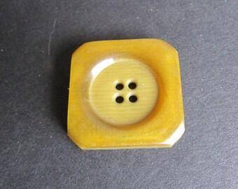 Square BUTTON Blunt Corner Mustard Gold 4 Hole
