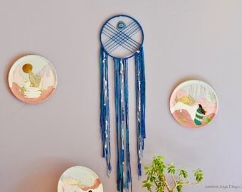 Extra Large Dream Catcher, Geometric Dream Catcher, Geode Dream Catcher, Navy Blue Dream Catcher