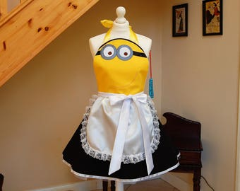 French maid minions inspired apron , Retro Apron Pin-up Rockabilly Cosplay