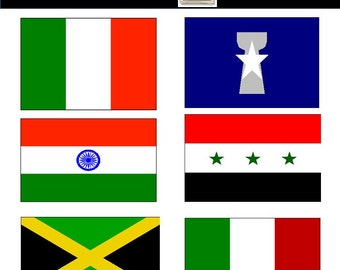 World Flag Clipart, Flag Clipart, Printable Flags, 135 PNG Images, Instant Download