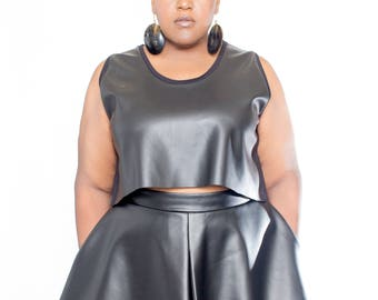 Plus size Vegan Leather Front Crop Top