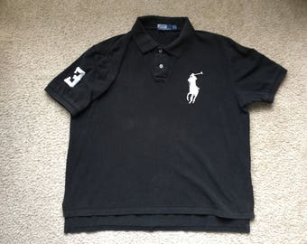 Vintage Polo Ralph Lauren Mercer RL Polo Team Big Pony #3 Collar Shirt Size Small Medium Slim Fit Polo Pwing 92 Small Pony Hip Hop xjLJ30