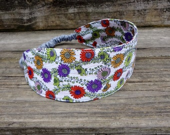 Wide Headband with elastic: Purple and Red Floral