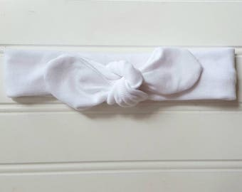 Classic White Top Knot Headband