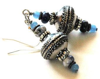 Sodalite Gemstone Beaded Drop Earrings, Cornflower Blue with Silver Accents, Tibetan Tribal Style