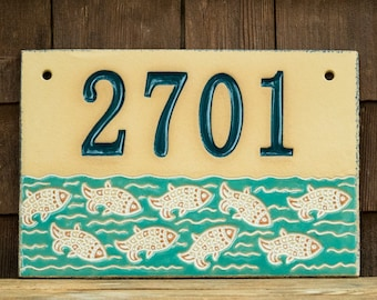 Ceramic Address House Number Sign for Outdoor Use / Housewarming or Wedding Gift / Beach House / Wall Mount / Swimming Fish / CUSTOM MADE