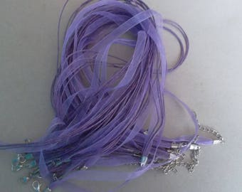 x 5 clear 43 cm purple waxed cotton thread and organza Ribbon necklaces