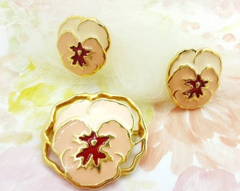 Avon Full Bloom Pansy Brooch and clip earrings  1990 Peach Burgundy and Blooming Flowers set