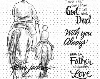 Dad and Me with 3 sentiments - instant download digital stamps by Tierra Jackson
