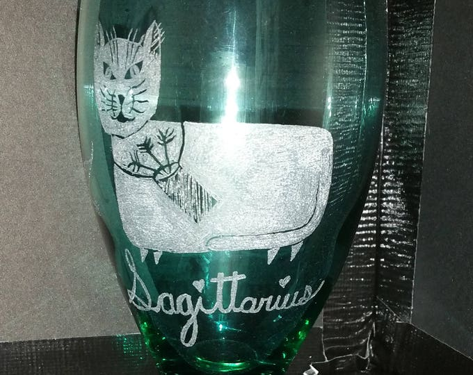 Sagittarius the Archer from our Kitty Kat Zodiac series on a 20 oz water glass
