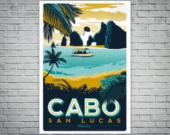 Cabo San Lucas Travel Poster Screen print vintage retro