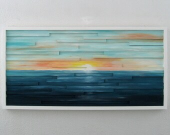 Abstract Landscape Painting on Wood - Abstract Wall Art - Sculpture - Wood Wall Art - Sunset Painting