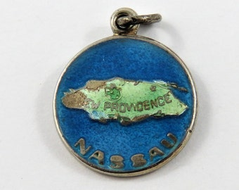 Enameled Outline of the Island of New Providence Nassau Bahamas Sterling Silver Charm or Pendant.
