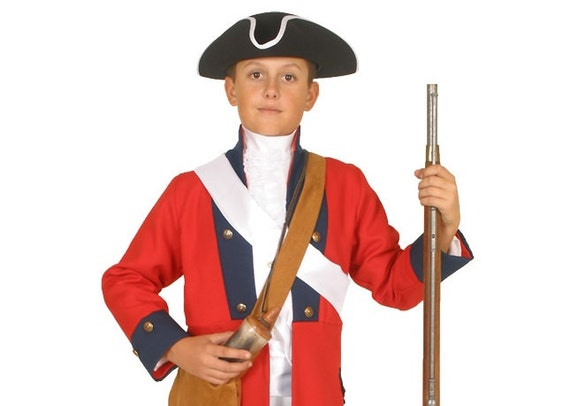 Boys american revolutionary war costume british red coat