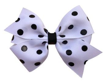 Polka dot hair bow - hair bows, bows, hair bows for girls, hairbows, girls bows, baby bows, toddler hair bows, big hair bows, hair clip