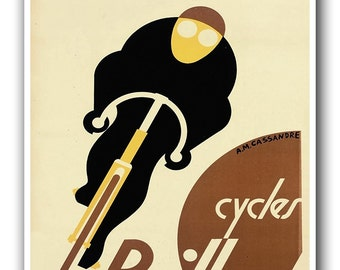 Art Deco Bike Print Bicycle Art Biking Sports Poster (H375)