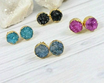 Druzy Stud Earrings, Druzy Earrings, Druzy Studs, Gemstone Earrings, Raw Stone Jewelry, Sparkly Druzy Earrings, Pink, Blue, Black, Teal