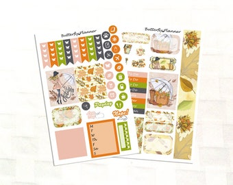 Hello Autumn Sticker Kit for Personal Size Planners, Mini Kit for Erin Condren and Happy Planner