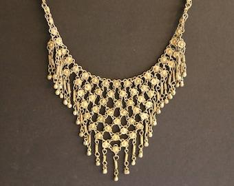 Vintage New Brass Bib Necklace