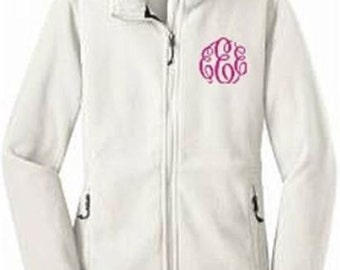 Bridesmaid Fleece Jacket, Monogram Fleece Jacket, Womens Fleece Jacket, Embroidered Fleece Jacket, Personalized Jacket, Monogrammed Jacket