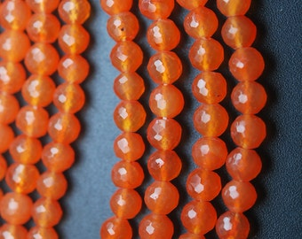 10 INCH Strand, Very Rare, Finest  CARNELIAN Micro Faceted Balls Beads, 5-5.5mm