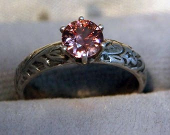 Pink Zircon Ring, 0.87 Carat, Vintage Reproduction, Sterling Silver Ring,Free Shipping