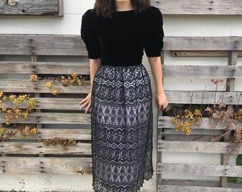 Stunning 1960s Velvet and Lace Dress