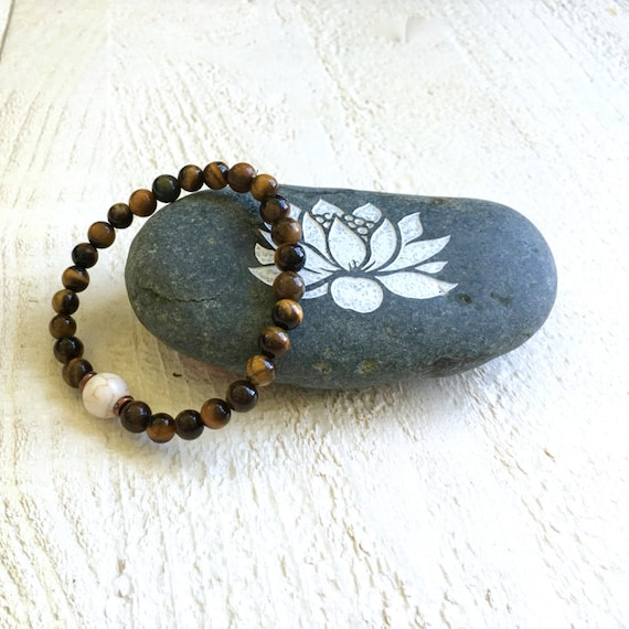 Tiger Eye and Howlite Bracelet, Matching Bracelet for Your Mala Beads, Mala Inspired, Yoga Beads, Natural Jewelry, Boho Style Jewelry