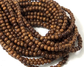 Madre de Cacao Wood, Dark, 4mm - 5mm, Round, Smooth, Very Small, Natural Wood Beads, Full 16 Inch Strand, 90pcs - ID 1646-DK