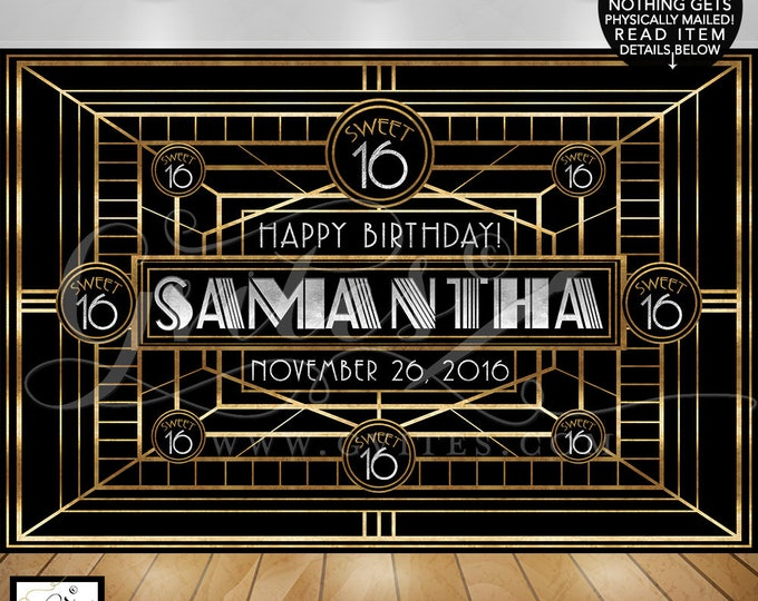 Great Gatsby Backdrop Sweet 16 banner poster, black and gold, 1920s 16 birthday photo booth backdrops, personalized customizable Gatsby.